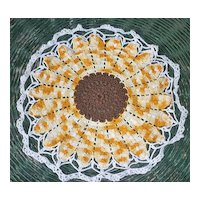 Sunflower Yellow Brown White Edging Crochet Large Centerpiece