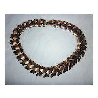 Signed Rebajes Oxidized Copper Leaves Links Necklace