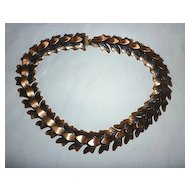 Signed Rebajes Oxidized Copper Leaves Links Necklace