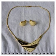 Monet Goldtone and Enamel Choker Necklace and Earrings Set