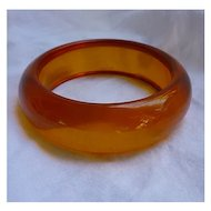 Honey Tangerine Chunky Prystal Bakelite Bangle Bracelet