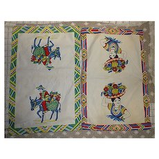 Mexican Senor and Senorita Big Baskets of Fruit Vintage Kitchen Towels