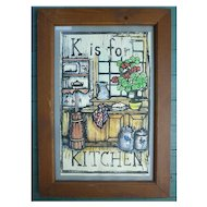 K is for Kitchen Mary Azarian  Hand Painted Woodcut Print Framed