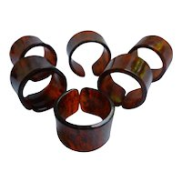 Rootbeer Swirl Lucite Napkin Rings Set of 6
