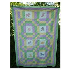 Charming Child's Embroidered Animals 9 Patch Pieced Quilt