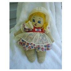 Pretty Little Dutch Girl Stockinet Cloth Doll