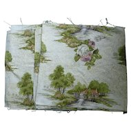 Down by the Old Mill Stream and Flowers Barkcloth Panels