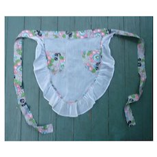 Pretty 30s Floral Print and Sheer Vintage Apron