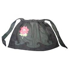 Pretty Floral Pocket and Black Sheer Vintage Apron