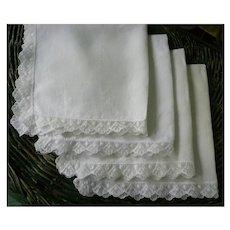 Fine White Linen Napkins with Lace Trim Set of 4