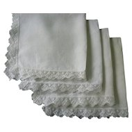 Fine White Linen Napkins with Lace Trim Set of 4