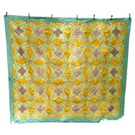 Elaborate Colorful Pine Cones Hand Pieced Patchwork Quilt