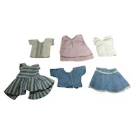 Sweet Set of Eight Mommy-made Older Clothes for a Tiny Doll