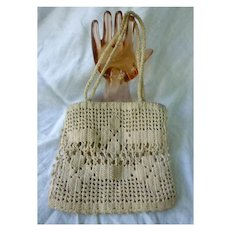 Old Ecru Hand Crochet Handbag