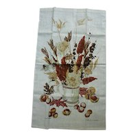Vintage John L. Gieroch Tea Towel with Autumn Bouquet in Tankard