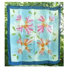 Large Colorful Flowers Hand Painted Silk Scarf
