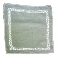 Fine White Linen with Intricate Openwork Border Handkerchief