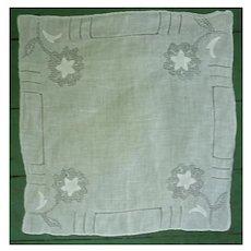 Fine White Linen with Openwork Flowers Handkerchief