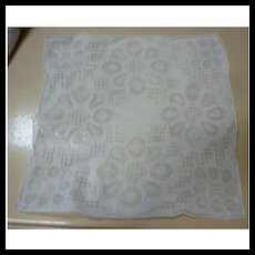 Fine White Linen with Elaborate Openwork and Flowers Handkerchief