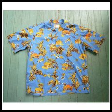 Hilo Hattie Lanai Print Hawaiian Aloha Surfer Shirt  L