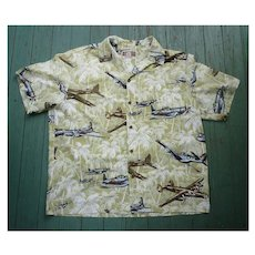 Kalaheo Airplanes Print Hawaiian Aloha Surfer Shirt  L