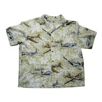 Kalaheo Airplanes Print Hawaiian Aloha Surfer Shirt  L