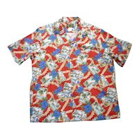 Hawaiian Reserve Postcard Print Hawaiian Aloha Surfer Shirt  L