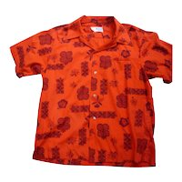 Maluna Hawaii Red and Black Print Hawaiian Aloha Surfer Shirt  XL