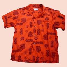 Maluna Hawaii Red and Black Print Hawaiian Aloha Surfer Shirt  XL