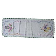 Fancy Flower Baskets Heavily Hand Embroidered Linen Runner