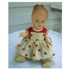 Sweet Molded 12 Inch Vinyl Doll in Fancy Polka Dot Dress Ensemble