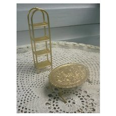 Ornate Brass Coffee Table and Etagere Set for Dollhouse