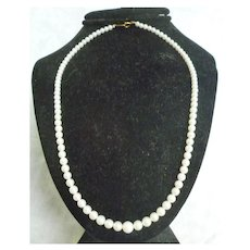 Graduated Single Strand Cultured Pearl Necklace 18K Gold Clasp