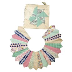 Two Vintage 1930's Quilt Blocks For Crafting