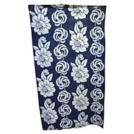 Blue and White Tropical Flowers and Leaves Pattern Hawaiian Style Fabric