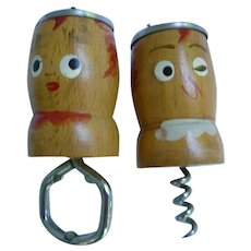 Vintage Salt and Pepa Set with Corkscrew and Bottle Opener