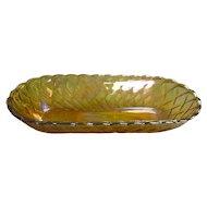 Basket Weave Carnival Glass Celery Dish