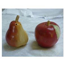 Ripe Pear and Apple Ceramic Salt and Pepper Set