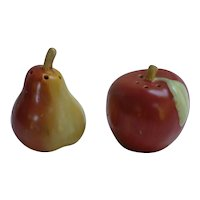 Ripe Pear and Apple Ceramic Salt and Pepper Set