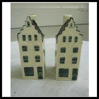 Pair of KLM Bols Blue Delft's Dutch Houses No 32