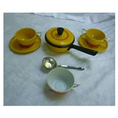 Set of Decorated Metal Kitchenware for Doll's or Child's Play Kitchen