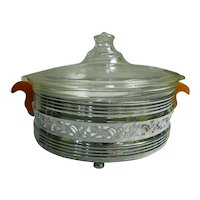 Clear Glass Casserole with Etched Lid in Chrome Holder with Bakelite Handles