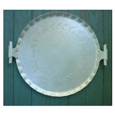 E.M.P.C. Intaglio Design Forged Embossed Aluminum Serving Tray With Handles