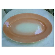Large Jackson China Peach and White Heavy Oval Platter