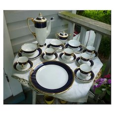 Large Kokura Ware Cobalt and Gold Coffee Service Set