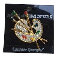 Artist's Palette Brooch Pin Austrian Crystals