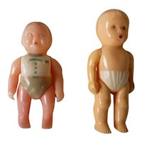 Pair of Little Hard Plastic Baby Boy Dolls
