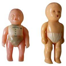 Pair of Little Hard Plastic Baby Boy Dolls