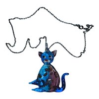 Cute and Colorful Glass Kitty Cat Pendant and Chain Necklace