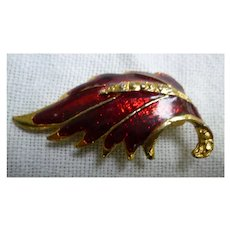 Sparkling Red Enamel and Goldtone Wing Feathers Brooch